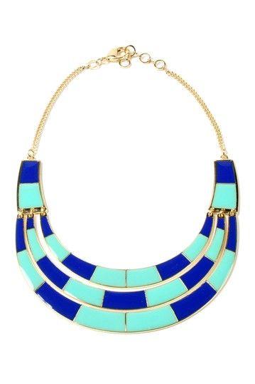Colorblock Enamel Bib Necklace  by Amrita Singh.