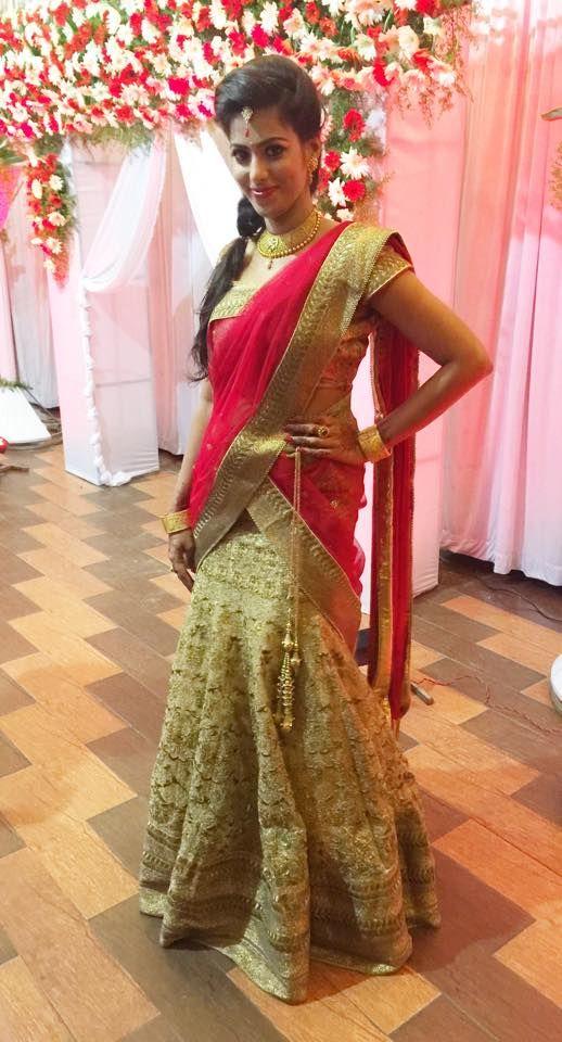 Indian bride wearing bridal hair, lehenga and jewellery. Engagement look. Makeup by Swank Studio. #Halfsaree Find us at https://www.facebook.com/SwankStudioBangalore