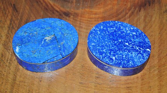 Lapis Lazuli Pill Boxes Lapis And Metal Box Small Trinket