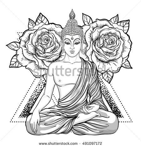Sitting Buddha over ornate rose flower. Esoteric vintage vector illustration. Indian, Buddhism, spiritual art. Hippie tattoo, spirituality, Thai god, yoga zen Coloring book pages for adults.