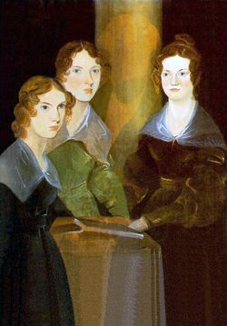 "Portrait of Anne, Emily, and Charlotte Bronte by their brother Branwell (c.1834). He later removed himself from the painting (resulting in the ""column"" between the girls)."