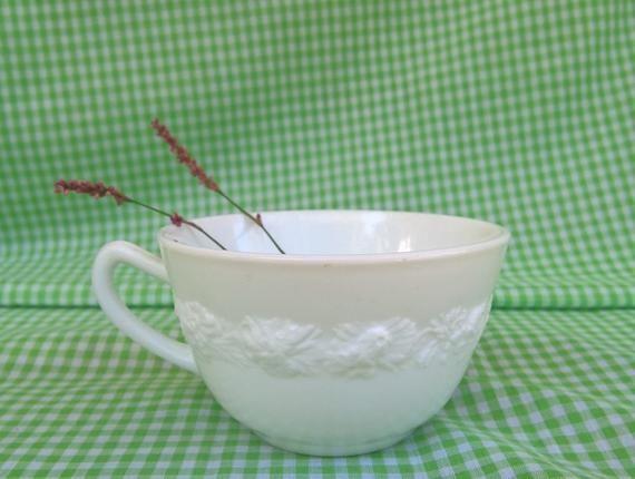 Vitrock Flower Rim Milk Glass Cereal Bowl by Hocking Glass