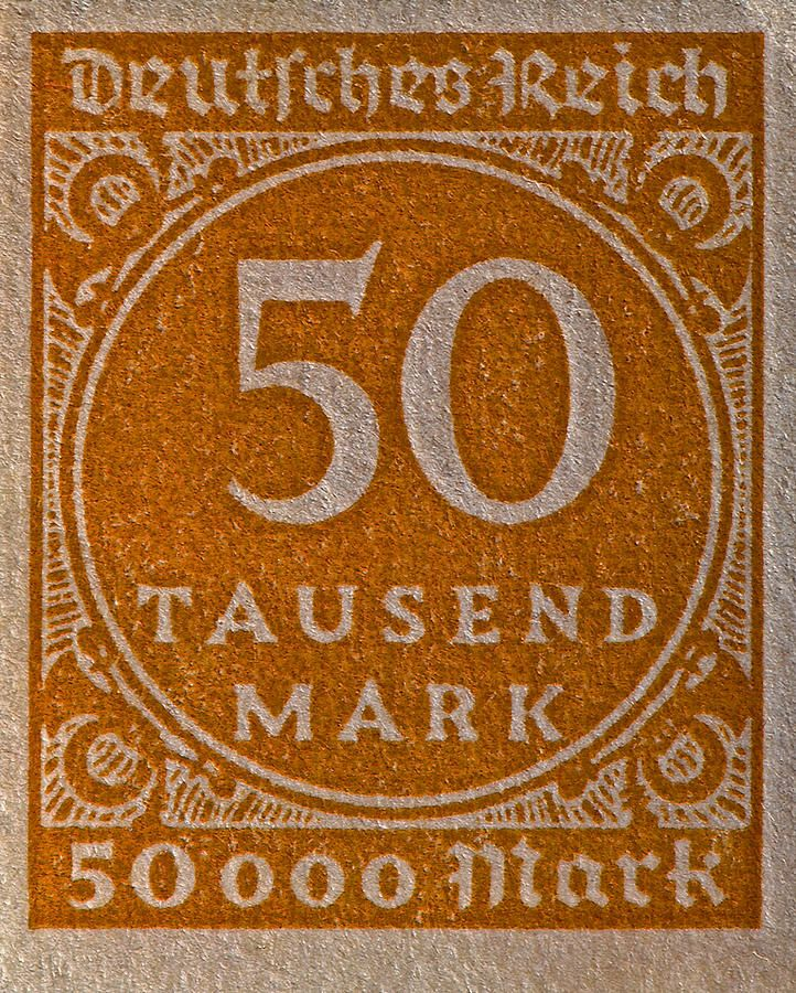 1923 Fifty Thousand Mark Weimar Republic Stamp.