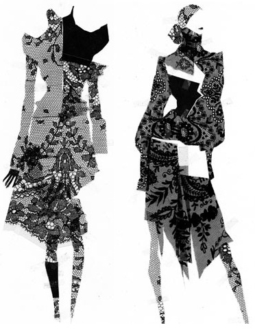 Fashion illustration - fashion collage drawings // Pierre-Louis Mascia