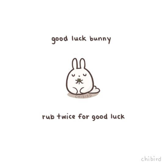 Who needs a rabbit's paw for good luck when you could have a whole, soft bunny. It's even holding a 4-leaf clover for you. o u o