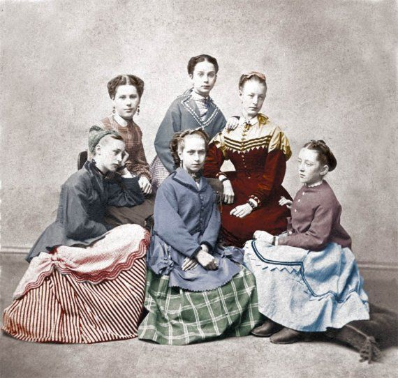 1870 Little Women Hand Tinted Photographic Print by maclancy