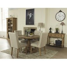 San Agosto Spruce Wood 4 Person Round Pedestal Dining Table