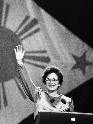 """Maria Corazon Sumulong """"Cory"""" Cojuangco-Aquino (1933-2009) was a Filipino politician who served as the 11th President of the Philippines, the first woman to hold that office, and the first female president in Asia. Regarded as """"The Mother of Philippine Democracy"""", Cory led the 1986 People Power Revolution, which toppled Ferdinand Marcos and restored democracy in the Philippines."""