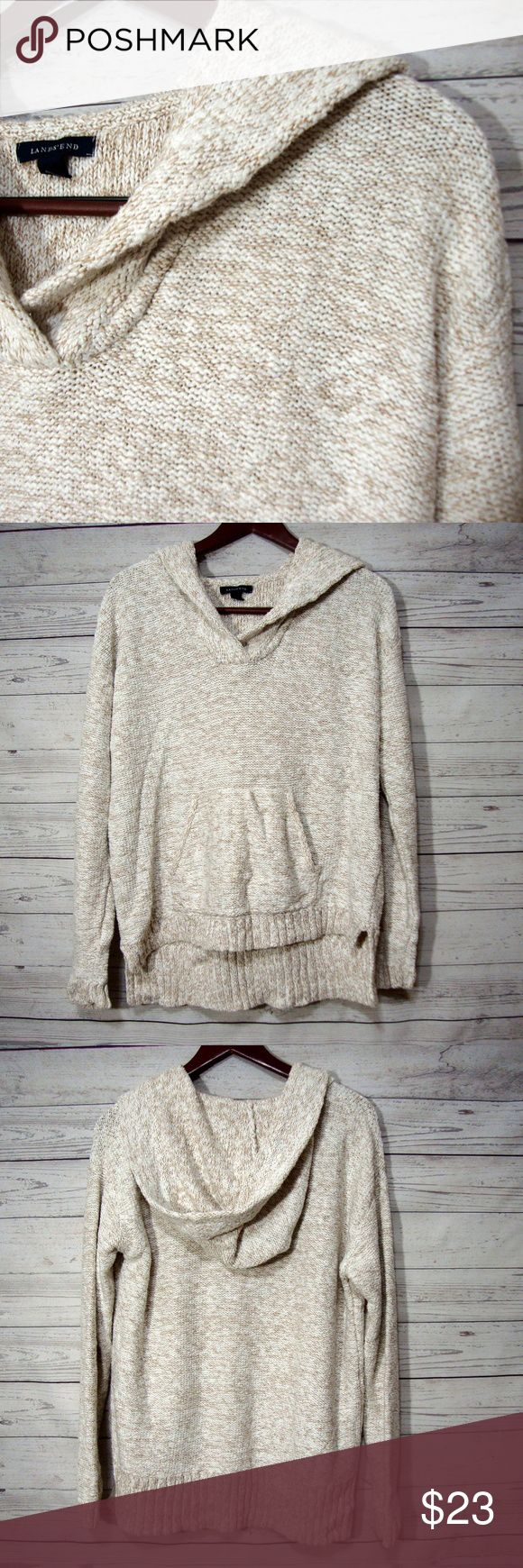 Lands End Sweater Large 14 16 heather Beige Hoodie Here is a great sweater from Lands End  It is a size L  14/16  Laying flat it measures: underarm to underarm it measures approximately 25.5 inches across from back of neck to bottom it measures approximately 28 inches in length  very gently used condition  From a smoke free home. Lands' End Sweaters Shrugs & Ponchos