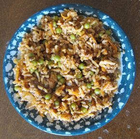 Cajun Dirty Rice Recipe With Ground Beef...this is so good. I used recipe starters fire roasted tomato since that is what I had on hand.