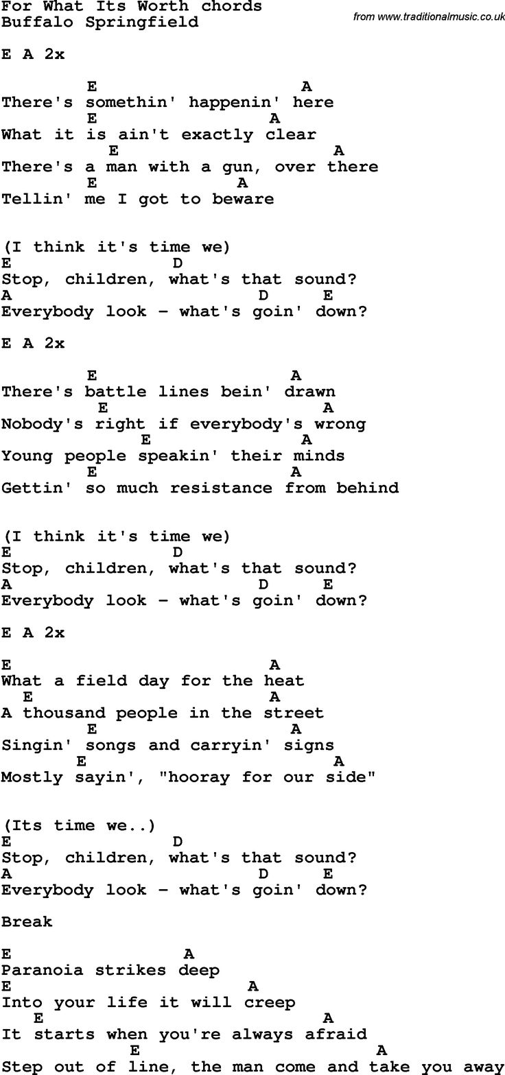 Song Lyrics With Guitar Chords For For What Its Worth