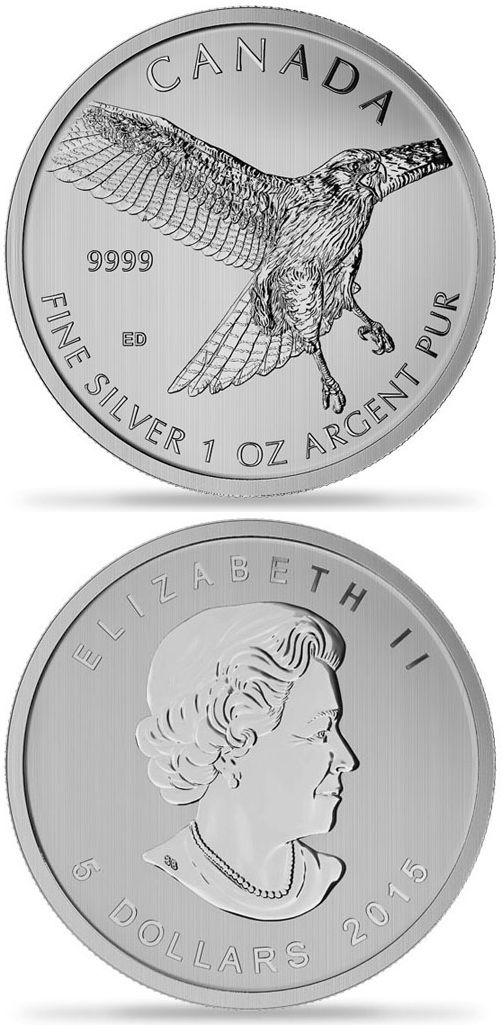 1 oz Silver Canadian Red-Tailed Hawk. 2015  Серебряная монета Канадский краснохвостый сарыч.