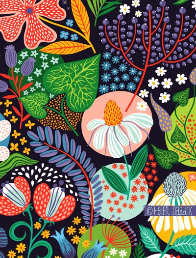 patterns by quenalbertini - Summer garden pattern by Helen Dardik - via orangeyoulucky.blogspot...