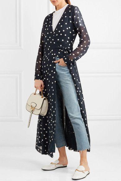 8699ad86da6c GANNI | Polka-dot chiffon wrap dress | NET-A-PORTER.COM