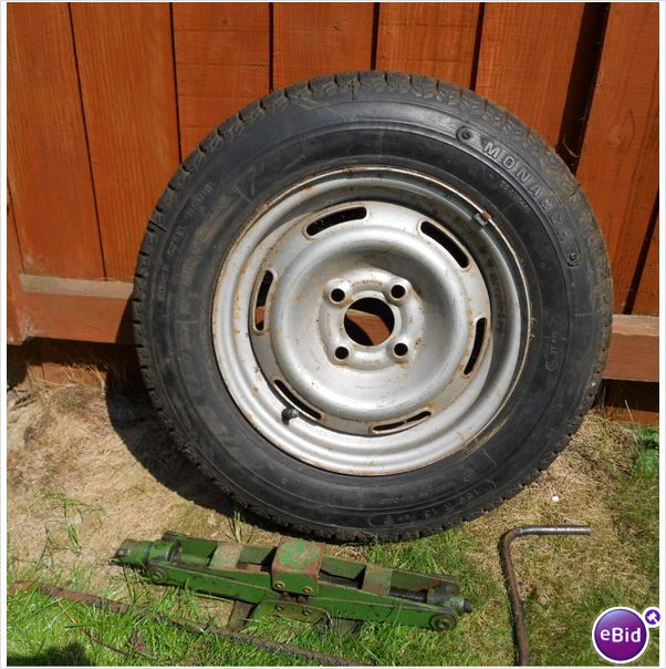 Spare wheel + tyre & jack [from our caravan] - Tyre size 155 R 13 78P -  on #eBid United Kingdom £27.50