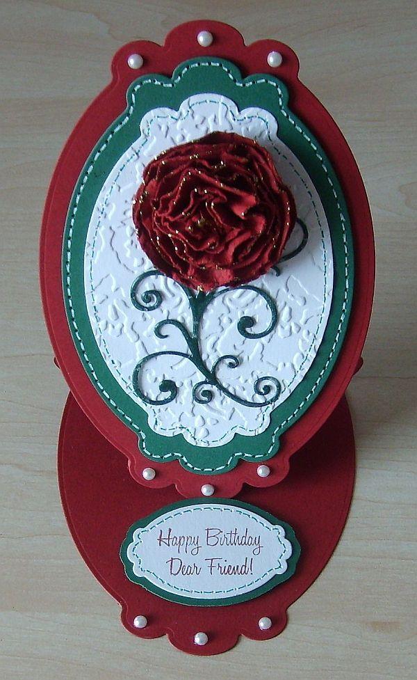 Easel-Card,  Spellbinders , Happy Birthday,  Rosen, Embossing