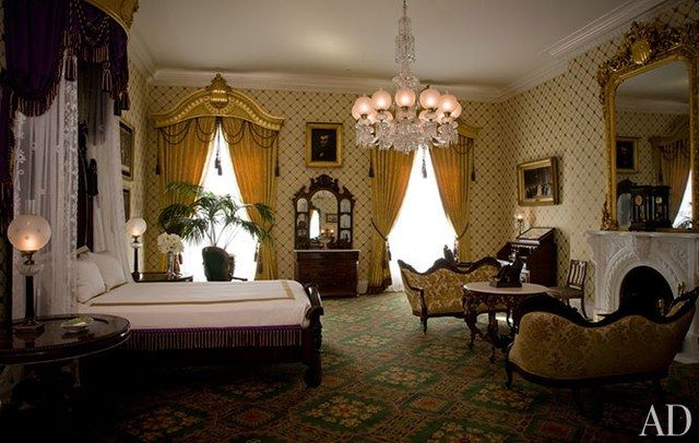 The Lincoln Bedroom was restored during the Bush administration and nods to Lincoln's time in the White House, with its period-style valances and its marble chimneypiece copied from one that was in the room in the 1860s. The hand-blocked wallpaper was custom made for the project by Adelphi Paper Hangings.