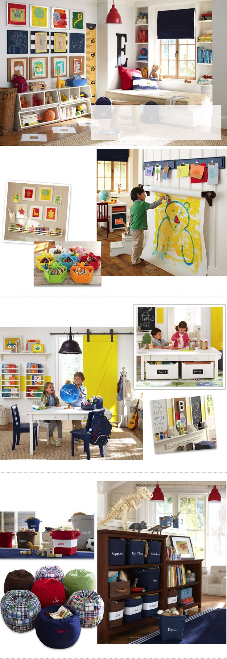 Play Room Ideas & Toy Room Ideas Pottery Barn Kids - love the row of cork boards for kids pictures. Can even paint over them with accent colors.