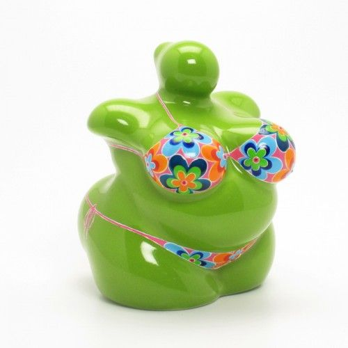 Green Venus of Willendrof Ceramic Handmade Home Decor Gifts Coin Box
