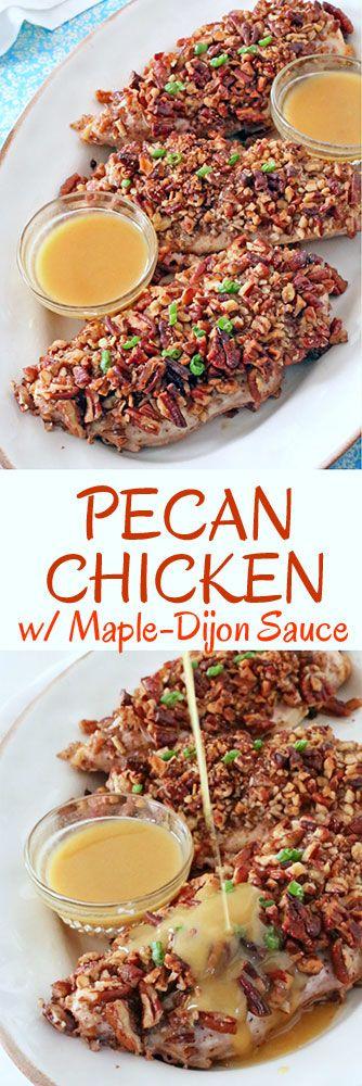 Pecan Chicken with Maple-Dijon Sauce #chicken #recipes #dinner #cooking