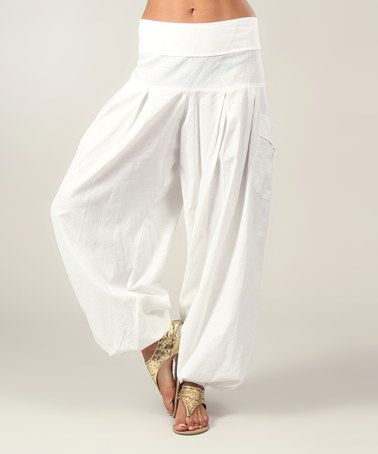 Another great find on #zulily! White Harem Pants by Aller Simplement #zulilyfinds