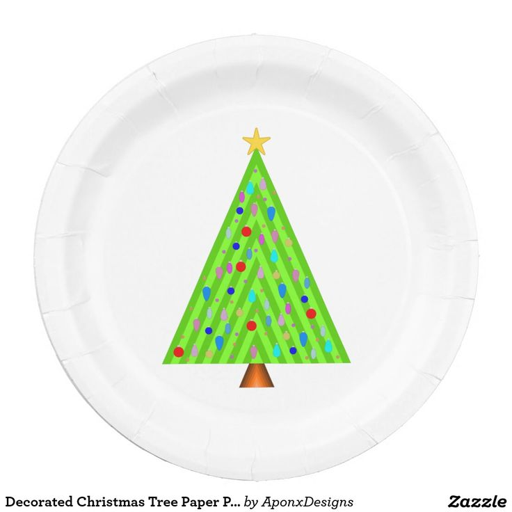 Decorated Christmas Tree Paper Plates