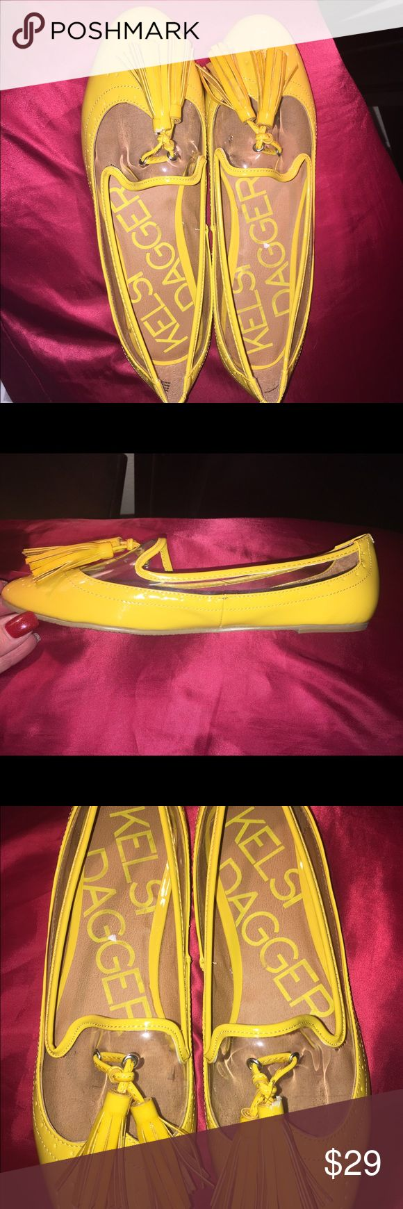 Kelsi Dagger Mercy Flats Re-poshing . Adorable Kelsi Dagger yellow vinyl flats. Never worn outside. Although they are 9s, they run HALF SIZE SMALL! Kelsi Dagger Shoes Flats & Loafers