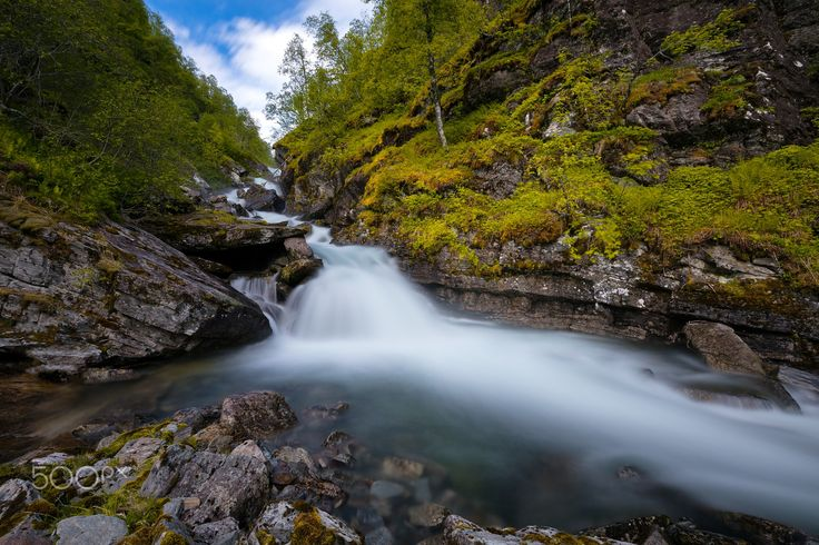 Smooth Forest Waterfall - A waterfall in the beautiful nature of Norway.