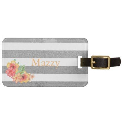 Metallic Silver Stripes with Florals Monogram Luggage Tag - elegant gifts gift ideas custom presents