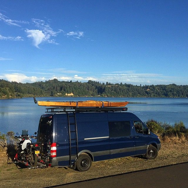 Mercedes Sprinter With Aluminess Roof Rack And Ladder Beautiful Spot By The River In Oregon