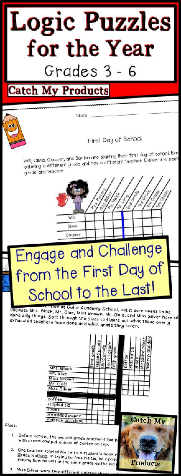 Logic Puzzles for the Year by Catch My Products will engage and challenge your students!
