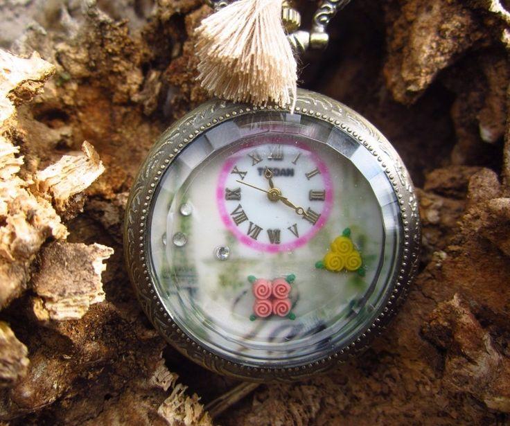 collar reloj paisaje torre eiffel vintage