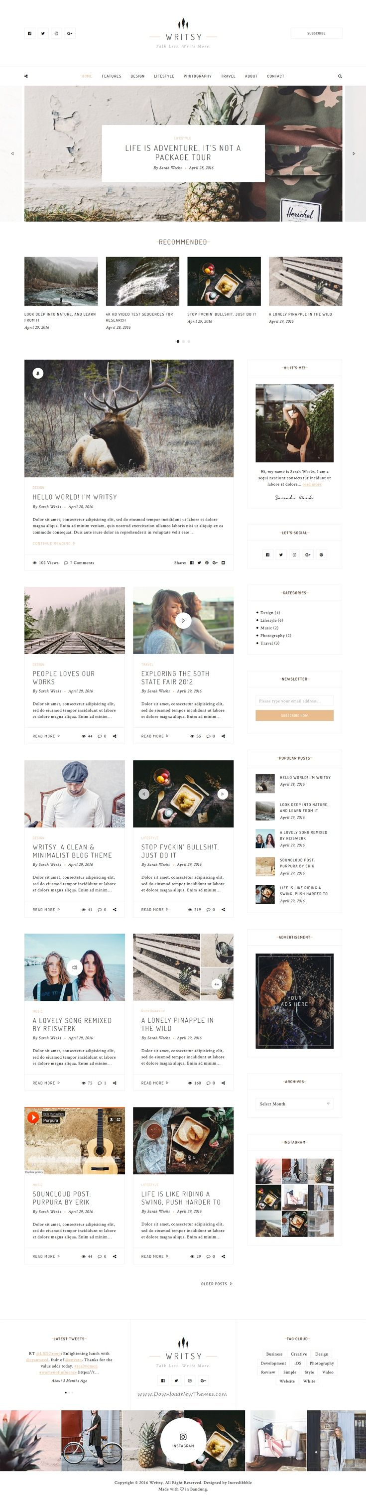 Writsy is versatile WordPress #theme for wide-range of blog niches such as personal #blog, fashion, photography, #travel. Download Now!