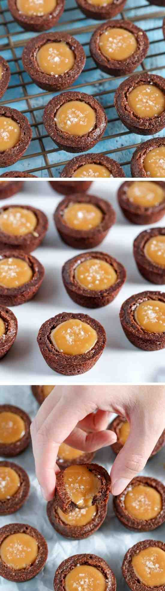 SALTED CARAMEL BROWNIE BITES - brownie, caramel, cream, dessert, recipes, vanilla
