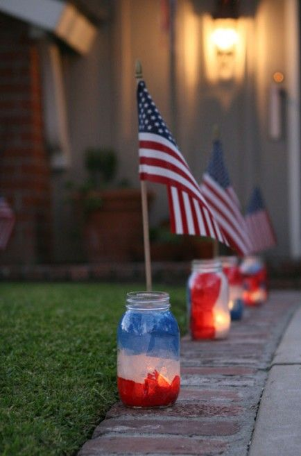 4th of July Decorations: Mason Jar Luminaries & 24 other  Patriotic Party ideas! (I will be putting the collage on the OUTSIDE of the jars, & mix in stars)