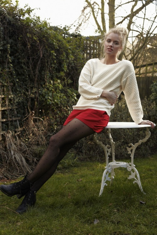 Textured Ivory Knit, Red Wool Short, Sheer Dotted Tights, Black Lace-Up Boots: Red Wool, Ivory Knits, Wool Shorts, Mind Collection, Bright Shorts, Mind Seoul, Black Boots, Texture Ivory, Wandering Mind