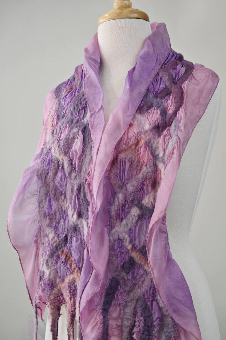 Nuno felt silk scarf ladies wool scarf dusty pink shawl mushroom pink scarf wrap hand made woman's nuno felt Pink Mushroom 11845 by Feltedfibres on Etsy