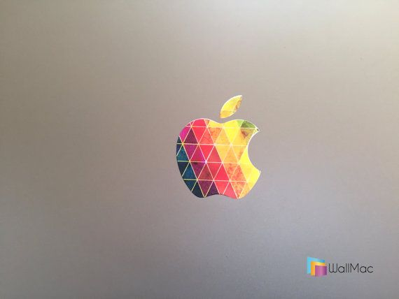 Modern Take on old Apple Rainbow Logo Glowing Backlit Apple Logo for MacBooks 2 Decals Stickers per Order