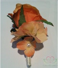 Corsage de luxe Oranje-Zalm Roos, Hortensia-Parels op Pincl