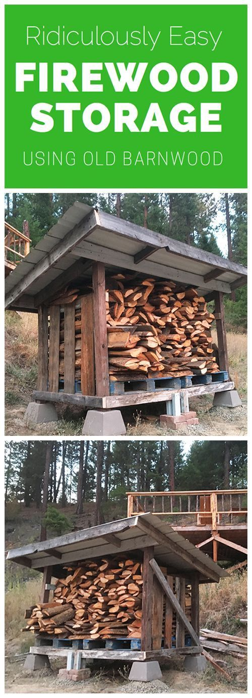 Cool DIY firewood storage plans for the homestead using reclaimed materials and pallets!