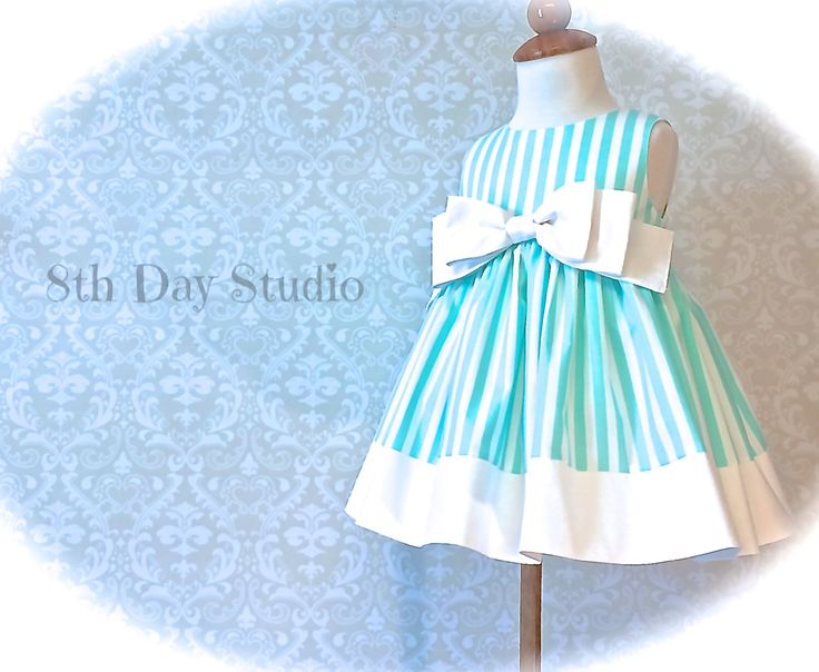 Girls Easter Dress, Toddlers Easter Dress, Aqua and White Stripes, Special Occasions, Church, Wedding, Sizes 2T - 6 by 8th Day Studio by 8thDayStudio on Etsy https://www.etsy.com/listing/250386890/girls-easter-dress-toddlers-easter-dress