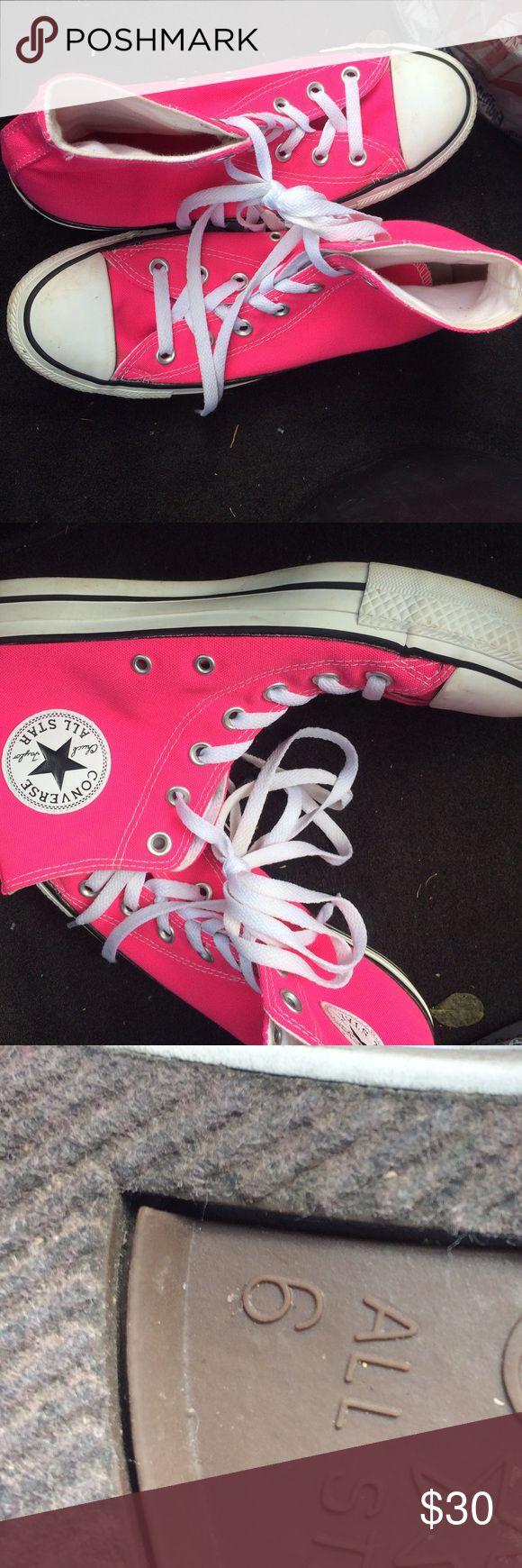 Men's Converse All pink for men size 6 worn but decent condition Converse Shoes Athletic Shoes