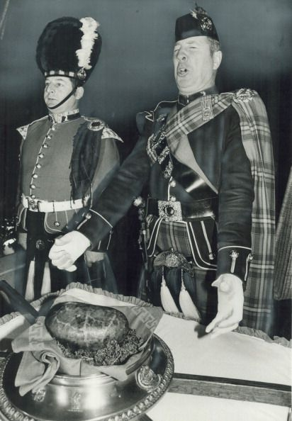 All hail haggis Warrant Officer George Walker of the 48th Highlanders recites traditional Ode to the Haggis at Robert Burns day celebration , 1980
