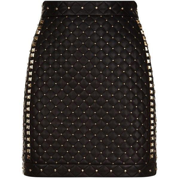 Balmain Studded Leather Mini Skirt ($2,825) ❤ liked on Polyvore featuring skirts, mini skirts, bottoms, short skirts, mini skirt, punk skirt, balmain skirt and quilted skirts