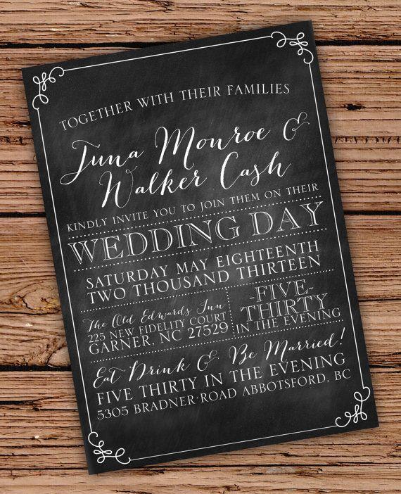 Chalkboard Vintage Chic Wedding Invitation by JulsNewbrough