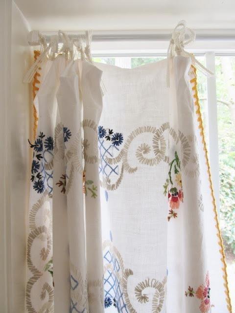 vintage linens repurposed as curtains