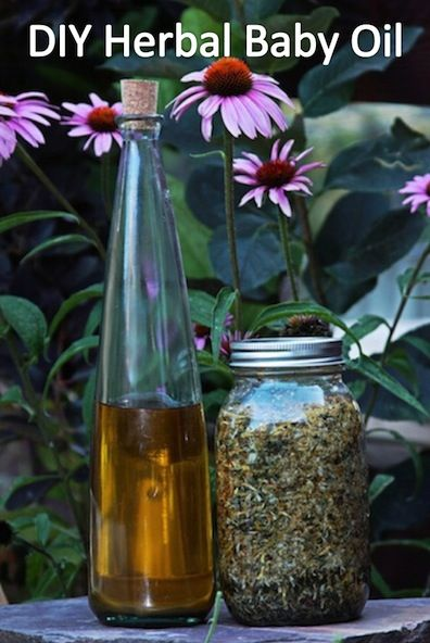 How to Make Your Own Herbal Baby Oil- why rub chemicals all over your babies body when you can use this.