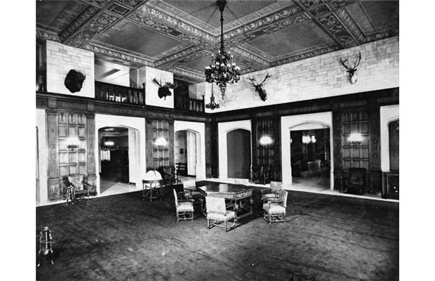 Main lobby, Château Laurier Hotel, Ottawa, in photograph taken soon after hotel's opening in 1912.