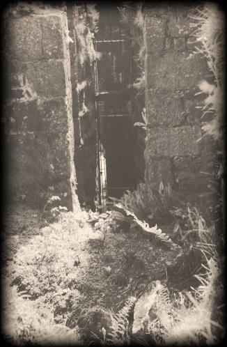 Shaft entrance, tin mine, Cornwall.