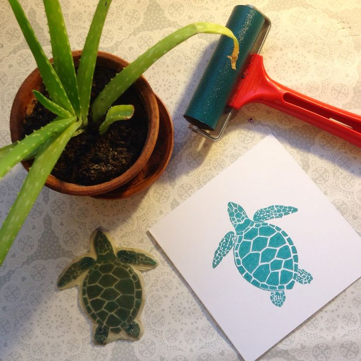 'Turquoise Turtle Lino print greetings card' now available in The Print Bee shop